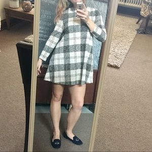 Plaid long sleeve mini swing dress Primark J. Crew